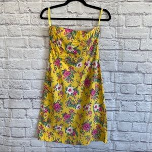 RALPH LAUREN Yellow Floral Strapless Dress